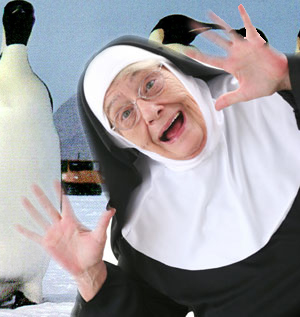 A nun at a penguin shoot.